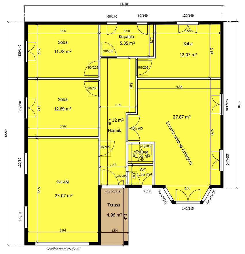 Montazna Kuca Home 6 - Osnova Prizemlja 123.98m2